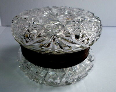 Antique ABP Cut Glass Crystal Silver Plated Hinged Powder Vanity Casket Box 5""