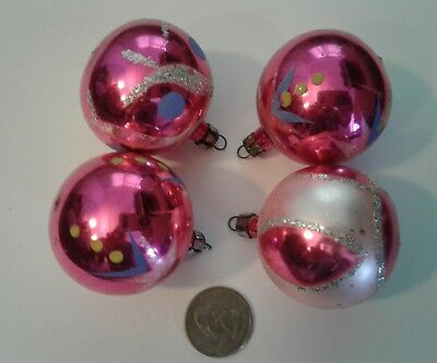 Vintage Mercury Glass Hand Painted & Mica Hot Pink Christmas Ornaments Poland