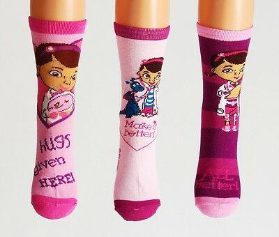 GIRLS SOCKS NEW DISNEY DOC McSTUFFINS AGE 7-9 YEARS  31-34 PINK COTTON RICH