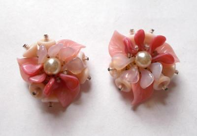 Vintage 1940's Western Germany Pink Glass Flower Leaf Petal Pearl Bead Earrings