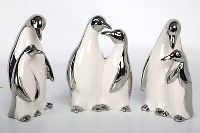 Set of 3 Contemporary Penguins White Silver Ceramic Figurine Ornament Christmas