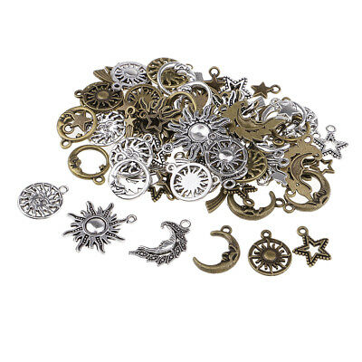80PCS Star Moon Sun Shape Pedants Jewelry Charms for Jewelry Making Supplies
