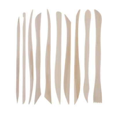10pcs Wooden Pottery Ceramic Clay Carving Modeling Sculpting Tools Crafts
