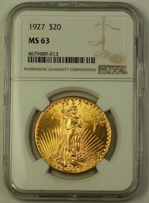 1927 US St. Gaudens Double Eagle $20 Gold Coin NGC MS-63 Very Choice D