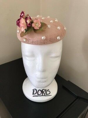 Peach pearl studded fascinator
