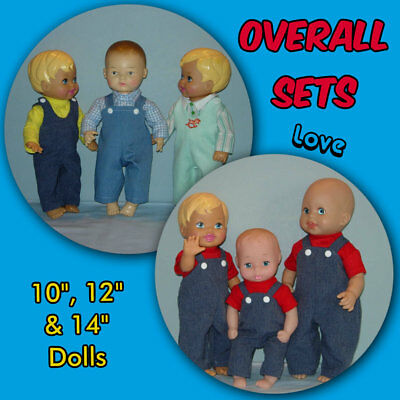 """OVERALL Sets for 10"""", 12"""", & 14"""" Dolls Handmade Clothes by the Crafty Grandmas"""