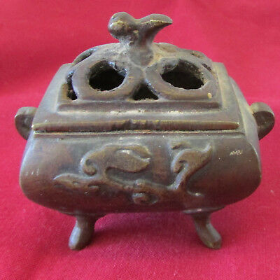 Vintage Bronze or Dark Brass Small Chinese Incense Burner with Four Feet & Lid