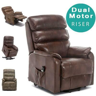 Buckingham Dual Motor Electric Riser Recliner Bond Leather Mobility Lift Chair