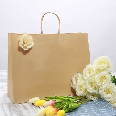 50pcs/100pcs Kraft Strong Twisted Handle Ribbed Brown Paper Carrier Gift Bags