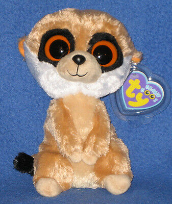 0fadadbeb46 TY BEANIE BOO REBEL MEERKAT Clip Rare   Retired w Purple Tag MINT w ...