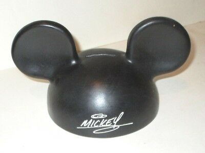 "Disney Mickey Mouse Iconic Ears Hat Shaped Plastic Coin Bank With ""signature"""
