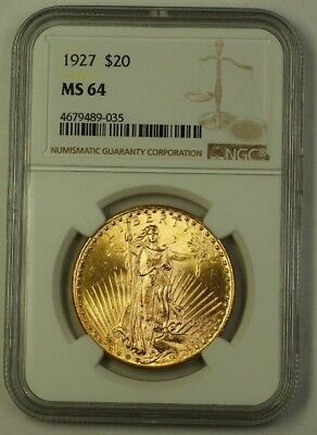 1927 US St. Gaudens Double Eagle $20 Gold Coin NGC MS-64 Very Choice D