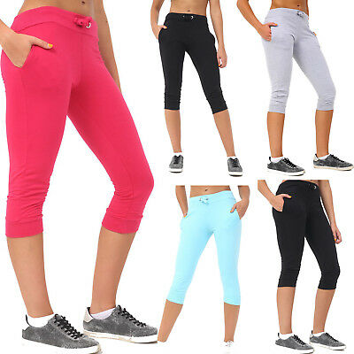 Womens Ladies 3/4 Length Cropped Capri Joggers Leggings Trousers Size UK 8-14