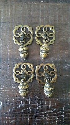 Vintage Antique Brass Drawer Pulls Lot of 4