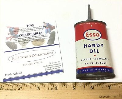 Early ESSO Tin with Lead Top Red Blue White Handy Oil 4 Oz Household Oiler