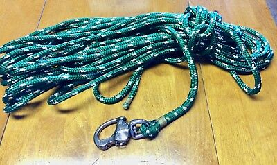 Halyard braided line 3/8 inch diameter Wichard snap shakel 60 feet - green