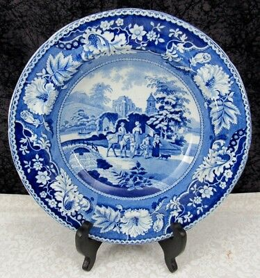 Antique Staffordshire Family & Mule Blue Transferware Pearlware Soup Bowl