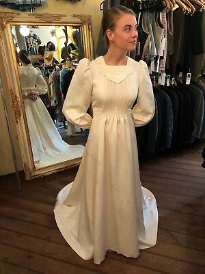 Vintage 1970's Cream Long Dress Gown Maxi Wedding Formal Costume w/Train