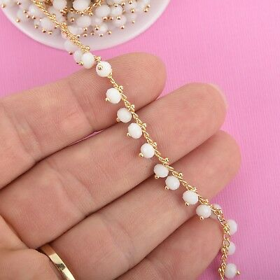 1 yard WHITE Crystal Bead Chain, bright gold wire loops, 4mm Rondelle fch0936a