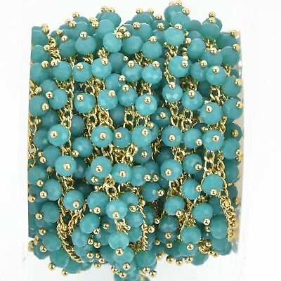 1 yard BLUE Crystal Bead Chain, bright gold wire loops, 4mm Rondelle fch0939a