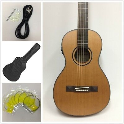 Caraya Parlor Guitar 610 Natural Cedar with EQ + Gig Bag + Extra Strings