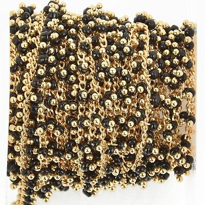 1 yard BLACK Crystal Bead Chain, bright gold wire loops, 2.5mm Rondelle fch0946a
