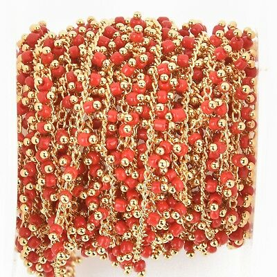 1 yard RED Crystal Bead Chain, bright gold wire loops, 2.5mm Rondelle fch0944a