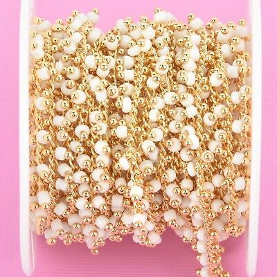 1 yard WHITE Crystal Bead Chain, bright gold, 2.5mm Rondelle fch0942a