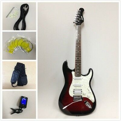 Haze E-211 Strat Electric Guitar SSH Tiger Red + Gig Bag,Strap,Picks+ Full Kit