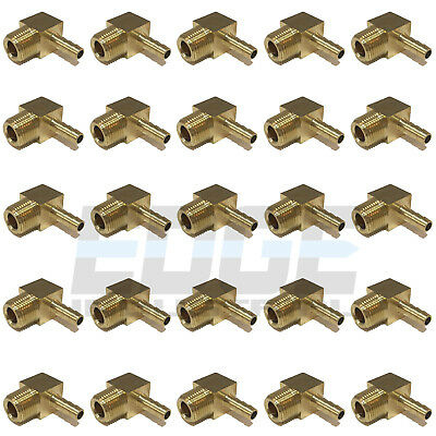 (25 Pieces) 1/4 HOSE BARB ELBOW X 3/8 MALE NPT Brass Pipe Fitting Gas Fuel Water
