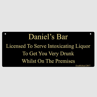 Personalised Custom Licensed To Serve Bar Hanging Sign Aluminium With Twine