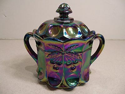 Mosser Amethyst Carnival Glass Cherry & Cable Covered Biscuit Cracker Jar 2476