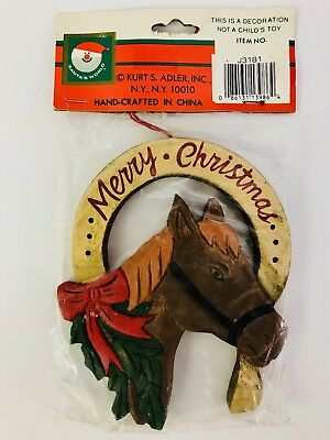 Western Christmas Ornament Horse Head in Horseshoe Cowboy Kurt S Adler Wooden
