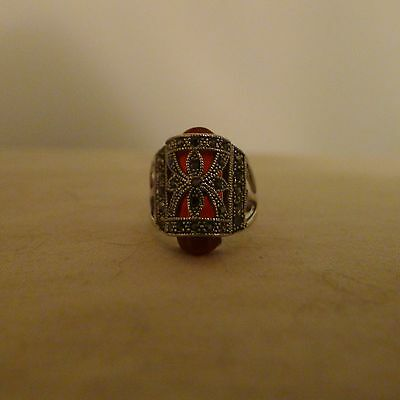 Red Ring sz9 Medieval Style Vintage Retro Bohemia Antique Silver Plated