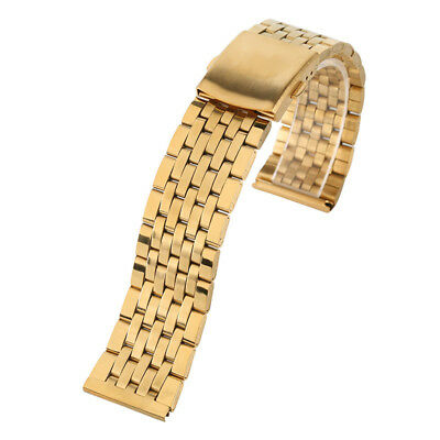 18/20/22mm Luxury Gold Solid Link 7 Rows Steel Watch Band Strap + 2 Spring Bars