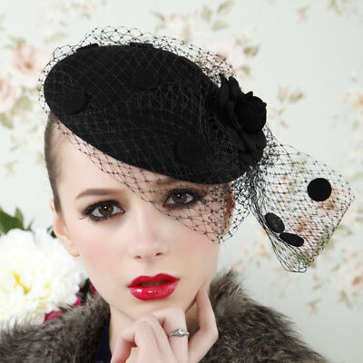 Womens Vintage Fascinator Wool Rose Veil Cocktail Party Wedding Pillbox Hat A043