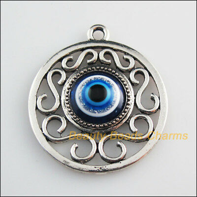 2 New Charms Round Flower Blue Eye Resin Pendants Tibetan Silver Tone 36x41mm