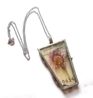 Vintage 1970's Steampunk Locket Stained Glass Effect Flower Pendant Necklace