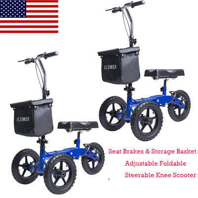 OEM ELENKER Foldable Knee Walker Scooter Turning Brake Basket Medical Drive USA