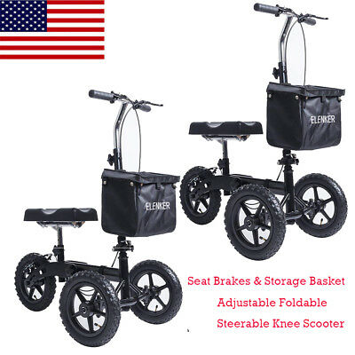Black ELENKER Steerable Foldable Knee Walker Medical Scooter Brake Basket Drive