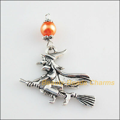 3 New Charm Orange Glass Round Beads Halloween Witch Pendant Tibetan Silver Tone