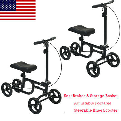 Black ELENKER All-Road Knee Walker Steerable Medical Scooter Crutch Alternative