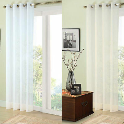 Plain Sheer Voile Net Curtain Ready Made Eyelet Ring Top Curtain Single Panel