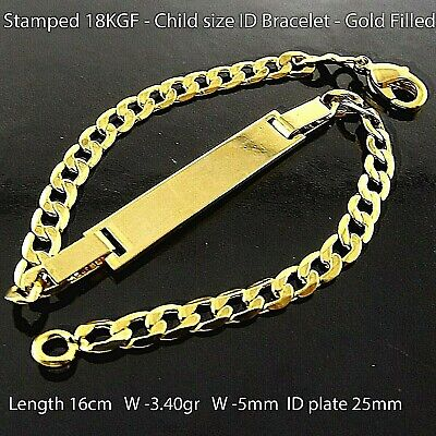 Id Bracelet Bangle 18 K Yellow G/f Gold Children Kids Baby Heart Charm Design