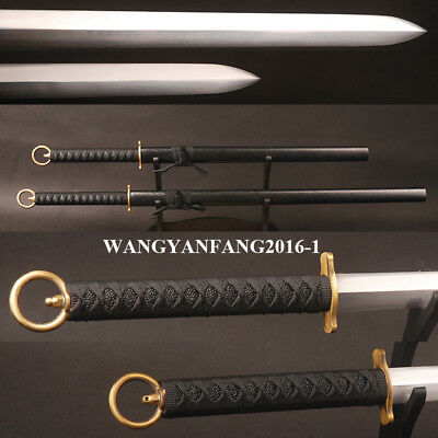 Japanese Double Edged Straight Swords Set Carbon Steel Shiny Blade Brass Cercle