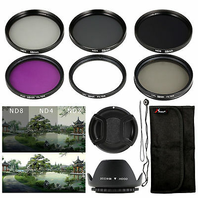 6pcs Filter Kit + Lens Hood + Cap 58mm for Canon 6D 7D 60D 70D 600D 700D LF134