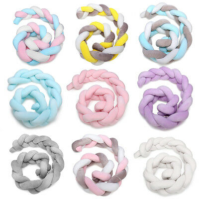 4M Baby Bed Knotted Cot Bumpers Design Newborn Crib Pad Protection Pillow