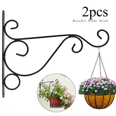 2Pcs Hanging Plant Bracket Wall Planter Hook Flower Pot Bird Feeder Hanger Decor