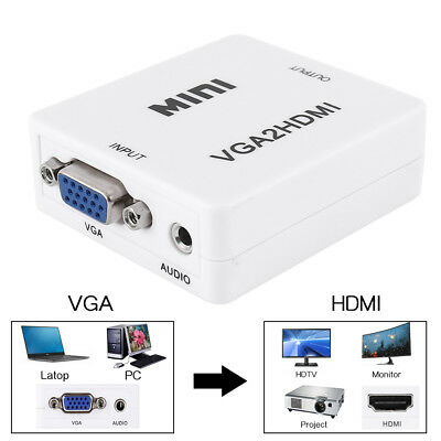 VGA To HDMI 1080P Output HD USB Audio TV/AV/HDTV Video Cable Converter Adapter