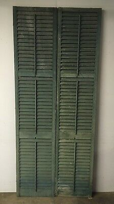 Tall Antique Pair House Painted Louvered Shutters Shabby Door Chic 90x38 299-18E